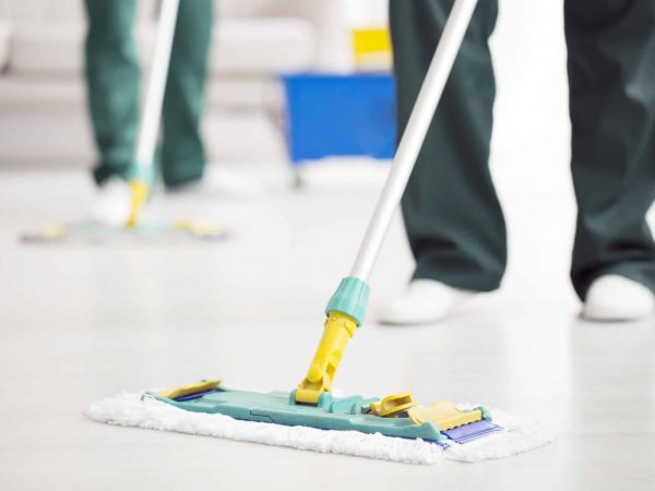 Close-up of person holding a floor mop while cleaning a home