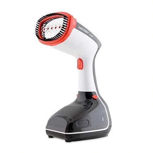 Zelmer ZGS1100 Handy - Parownica do ubrań, 1100 W, stały wyrzut pary 25 g/min, gotowość do pracy w 35 sekund, 1 poziom pary, eliminuje pomięcia, zapachy, dezynfekuje, pojemność 325ml, Czerwony,