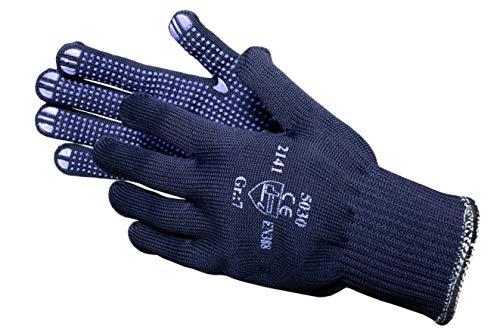 JAH 5030 Baumwolle/Polyester Strickhandschuh, Noppen, Mittelschwer, Blau, 6, 24 Stück