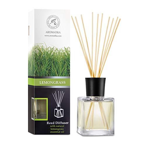 Raumduft Diffuser Lemongrass 200ml - Zitronengras - Naturreines Ätherisches Zitronengrasöl - Intensiv Raumduft - 0% Alkohol - Raumduft-Set Zum Aromatisieren