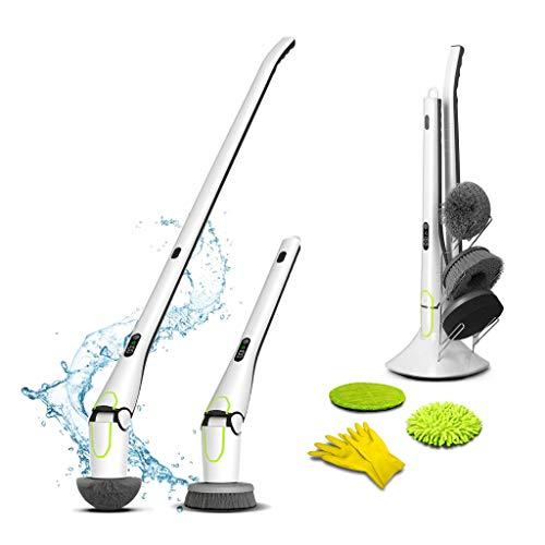 InYourCase Reinigungsbürste elektrisch Spin Scrubber. Drahtlos, aufladbar, verlängerbar, wasserfest. Display, Ständer, 5 Bürstenköpfe, Putz-Handschuhe. Schrubben für Haushalt, Bad, Dusche, Küche, Auto